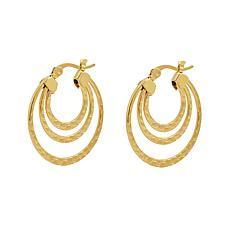 Stately Steel Triple-Round Hoop Earrings