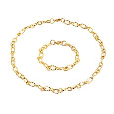 Stately Steel Twisted Rolo Chain Bracelet and Necklace Set