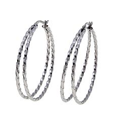 "Stately Steel Twisted Rope Double Hoop 1-1/2"" Earrings"