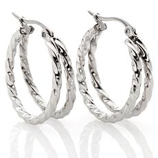 "Stately Steel Twisted Rope Double Hoop 1"" Earrings"