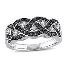 Sterling Silver 0.16ctw Black and White Diamond Pavé Entwined Ring