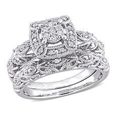 Sterling Silver 0.19ctw Diamond Filigree Bridal Ring 2-piece Set