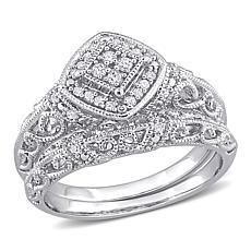 Sterling Silver 0.19ctw Diamond Vintage-style Bridal Ring 2-piece Set
