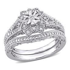 Sterling Silver 0.20ctw Diamond Milgrain Bridal Ring 2-piece Set