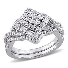 Sterling Silver 0.27ctw Diamond Split-Shank Bridal Ring 2-piece Set