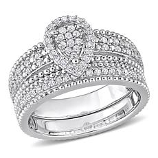 Sterling Silver 0.33ctw Diamond Pear Cluster Bridal Ring 2-piece Set