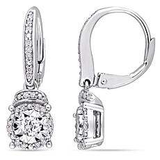 Sterling Silver 0.35ctw Diamond Drop Leverback Earrings