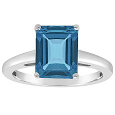 Sterling Silver 10x8mm Emerald-Cut London Blue Topaz Ring