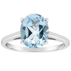 Sterling Silver 10x8mm Oval-Cut Gemstone Ring