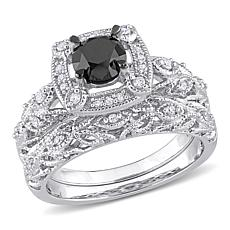 Sterling Silver 1.15ctw Black and White Diamond Bridal Ring 2pc Set