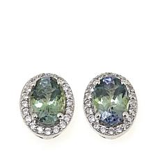 Sterling Silver 1.47ctw Green Zoisite and White Zircon Stud Earrings