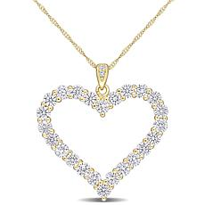 Sterling Silver 2.42ctw Created Moissanite Open Heart Pendant