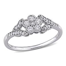 Sterling Silver .25ctw Diamond Floral Ring