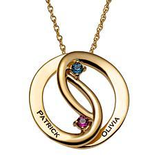 Sterling Silver Birthstone Crystal Interlocked Circle Pendant Necklace