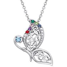 Sterling Silver Birthstone Family Butterfly Hearts Pendant Necklace
