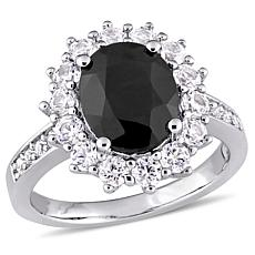 Sterling Silver Black Sapphire and Created White Sapphire Halo Ring
