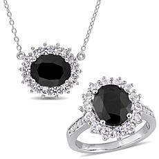 Sterling Silver Black Sapphire and Created White Sapphire Jewelry Set