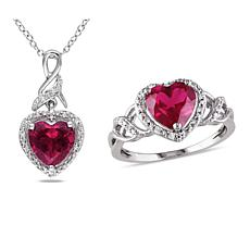 Sterling Silver Created Ruby and Diamond Heart Twist Pendant and Ring