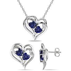 Sterling Silver Created Sapphire & Diamond Heart Necklace and Earrings