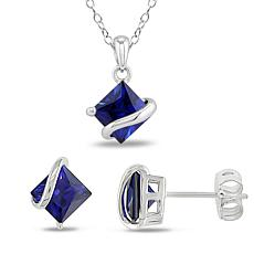 Sterling Silver Created Sapphire Stud Earrings, Pendant and Chain Set