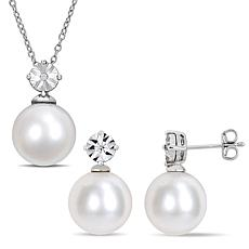 Sterling Silver Cultured Pearl and Diamond Drop Earrings and Pendant
