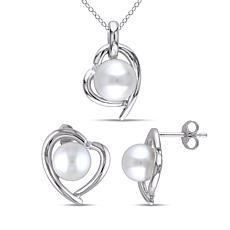 Sterling Silver Cultured Pearl and Diamond Heart Earrings and Pendant