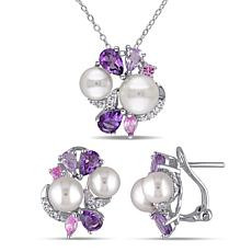 Sterling Silver Cultured Pearl, Sapphire and Gem Earrings and Pendant