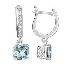 Sterling Silver Cushion-Cut Aquamarine and Diamond Earrings