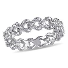 Sterling Silver Diamond-Accented Heart-Link Ring