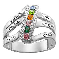Sterling Silver Engraved Birthstone Crystal & Diamond Accent Ring
