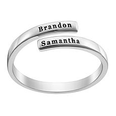Sterling Silver Engraved Double Name Bypass Ring