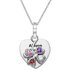 Sterling Silver Engraved Heart Pendant with Birthstone Clover Charm