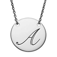 Sterling Silver Engraved Initial Station Disc Necklace