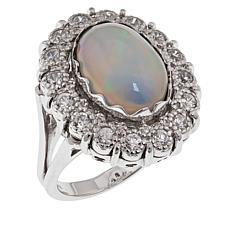 Sterling Silver Ethiopian Opal and White Zircon Ring