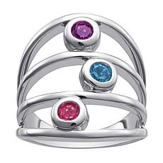 Sterling Silver Family 3-Stone Birthstone Multi-Row Ring