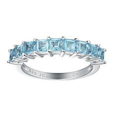 Sterling Silver Gemstone 9-Stone Princess-Cut Stack Ring