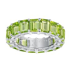 Sterling Silver Gemstone Emerald-Cut Stone Eternity Band Ring