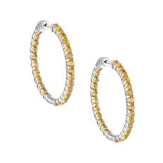 Sterling Silver Gemstone Round Inside-Outside Hoop Earrings