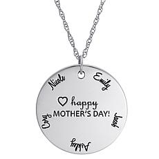 "Sterling Silver ""Happy Mother's Day"" Name Disc Pendant with Chain"