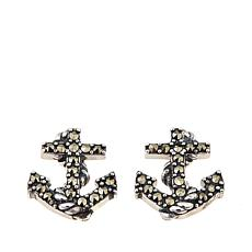 Sterling Silver Marcasite Anchor Stud Earrings