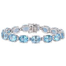 Sterling Silver Oval Sky Blue Topaz Tennis Bracelet