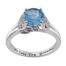 Sterling Silver Personalized Mother's Birthstone And Family Ring