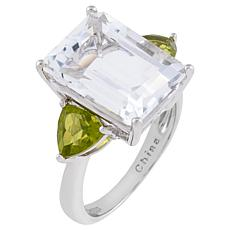 Sterling Silver Quartz and Peridot Emerald-Cut 3-Stone Engagement Ring