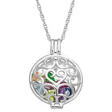Sterling Silver Round Filigree Locket Birthstone Pendant with Chain