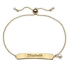 Sterling Silver Simulated Pearl Adjustable Name Plaque Bracelet