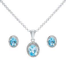 Sterling Silver Sky Blue Topaz Oval-Cut Halo Necklace and Earrings Set