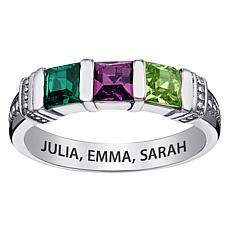 Sterling Silver Square Birthstone Crystals Band Ring - 3 Stones