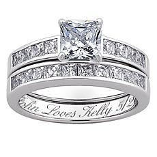 Sterling Silver Square CZ 2-PC Engraved Wedding Ring Set