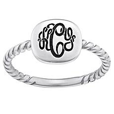 Sterling Silver Swirl Shank Monogram Ring