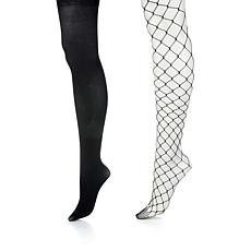 Steve Madden 2-pack Solid and Large Fishnet Tights
